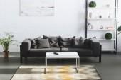 Fotografia interno moderno salone con divano grigio, tabella e librerie