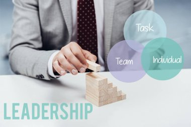 Cropped view of man building career ladder with wooden blocks, icons and 'leadership' lettering on foreground stock vector