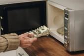 oříznutý pohled na starší muž dát peníze v mikrovlnné troubě