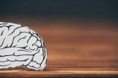Detailní záběr z papíru s tvarem mozku jako Alzheimerova symbol
