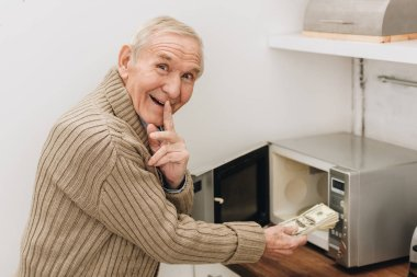 cheerful senior man placing finger on lips to say hush while putting money in microwave oven
