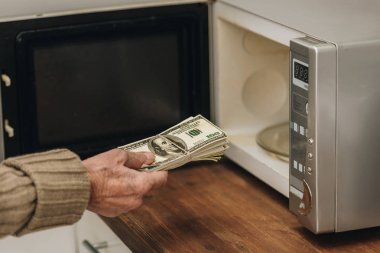 Cropped view of senior man putting money in microwave oven stock vector