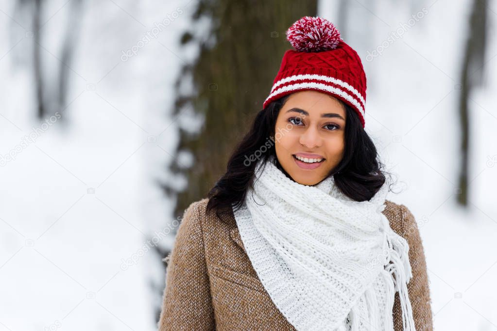 african american young woman in warm clothing looking at camera and smiling in winter park