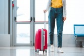 Fotografie oříznutý pohled ženy stojící se zavazadly v Letiště