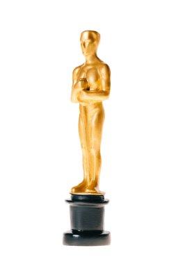 Shiny golden oscar award isolated on white stock vector