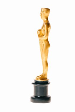 Shiny golden oscar trophy isolated on white stock vector