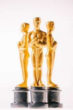 Hollywood oscar award statuettes isolated on white stock vector