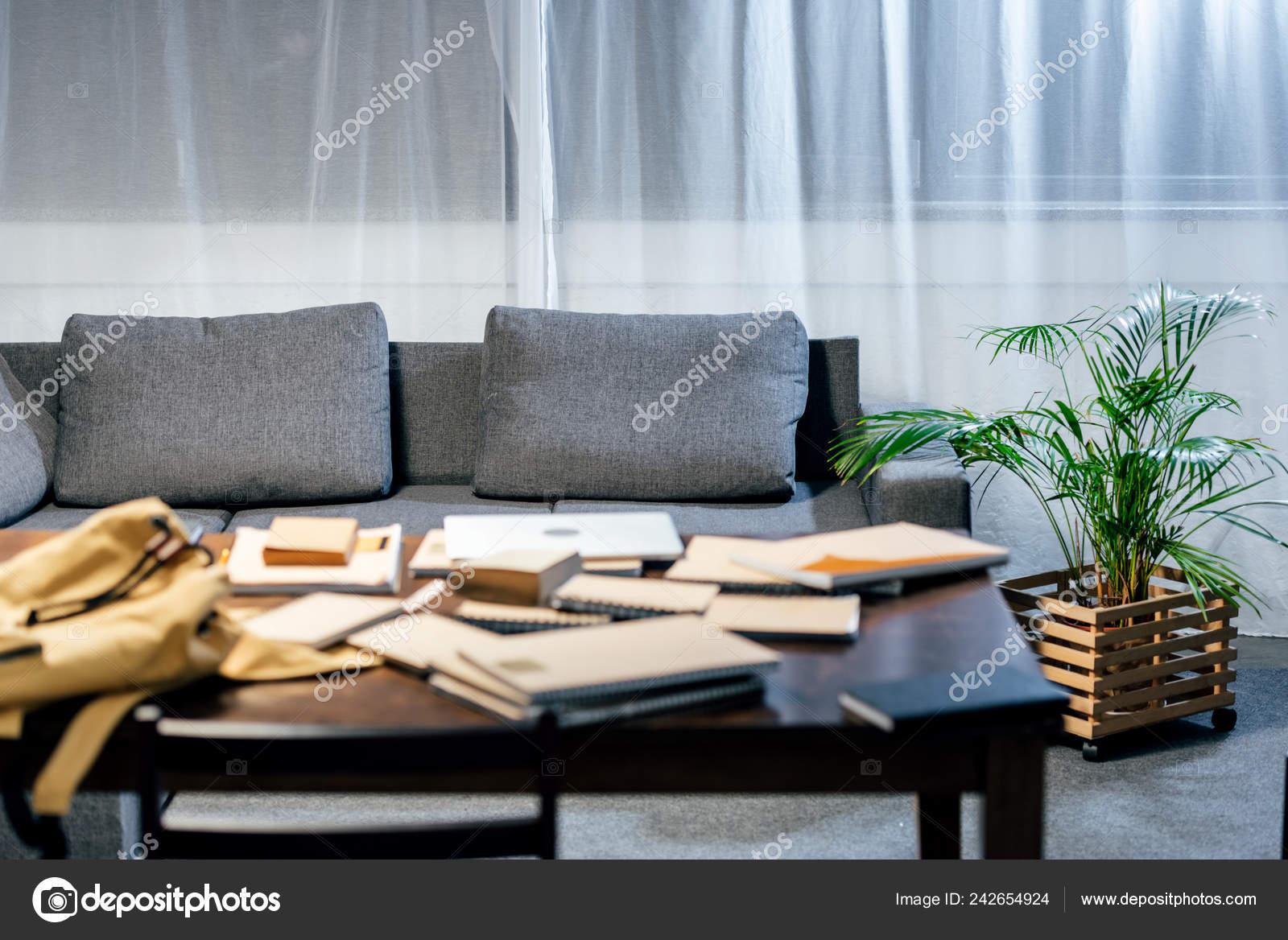 Selektiven Fokus Der Bücher Auf Tisch Wohnzimmer Mit Sofa Und ...