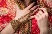 Fotografie verkürzten Blick auf Frau posiert in der traditionellen indischen Sari und Zubehör, isoliert auf grau