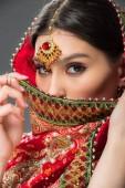 beautiful indian woman in traditional sari and bindi, isolated on grey