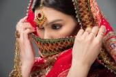 Fotografie indische Frau in traditionellen Sari und Bindi, isoliert auf grau