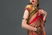 Fotografie verkürzten Blick auf indische Frau posiert in traditionellen Sari und Zubehör, isoliert auf grau