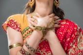 Fotografie verkürzten Blick auf indische Frau posiert in Sari und Zubehör, isoliert auf grau
