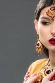 Fényképek vonzó indiai nő szárit és tartozékok, az szürke elszigetelt fél képe