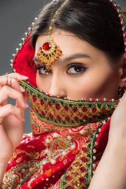 Beautiful indian woman in traditional sari and bindi, isolated on grey stock vector