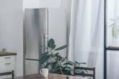 Fényképek fából készült asztal fehér kupa, hűtőszekrénnyel és konyhai zöld növény