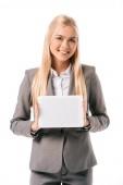 Fényképek mosolygó üzletasszony bemutató digitális tábla elszigetelt fehér