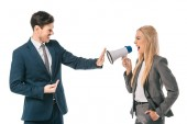 female boss shouting into megaphone at male employee who showing stop gesture isolated on white, gender equality concept