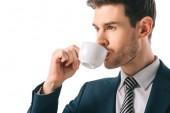 jóképű üzletember kávéfogyasztás elszigetelt fehér