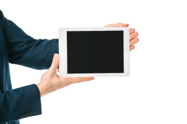 Partial view of businessman showing digital tablet with blank screen isolated on white stock vector