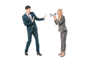 angry businesswoman screaming into megaphone at frightened businessman isolated on white