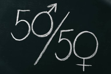 male and female signs as 50 to 50 percents on blackboard, gender equality concept