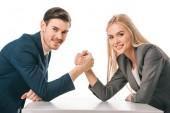 Fotografie Lächelnde Geschäftsleute Arm in Arm auf weißem Grund