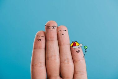 cropped view of cheerful fingers family isolated on blue