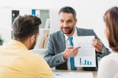 Selektivní fokus poradce u stolu a ukazoval prstem na dokumenty investorům v úřadu