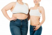 Photo cropped view of happy slim and overweight women hugging isolated on white, body positivity concept