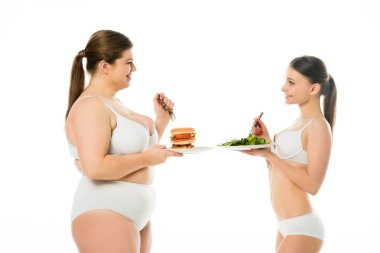 Slim woman in underwear standing with plate of green spinach leaves and looking at overweight woman holding plate with burger isolated on white stock vector
