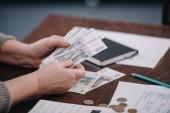 zblízka ženské důchodce počítání peněz doma