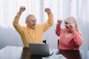 happy senior couple in colorful clothes sitting at table with laptop and cheering with hands in air