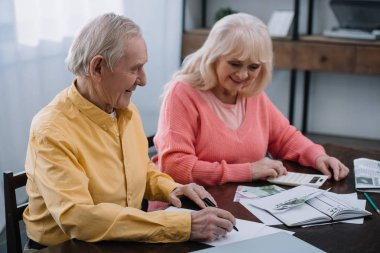 smiling senior coupe sitting at table with calculator and counting money