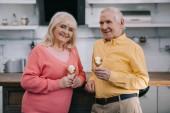 šťastný starší pár doma drží kornouty na zmrzlinu