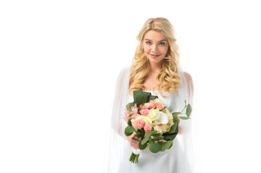 charming bride holding beautiful wedding bouquet and looking at camera isolated on white