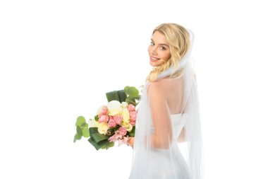 Beautiful bride holding wedding bouquet and looking at camera isolated on white stock vector