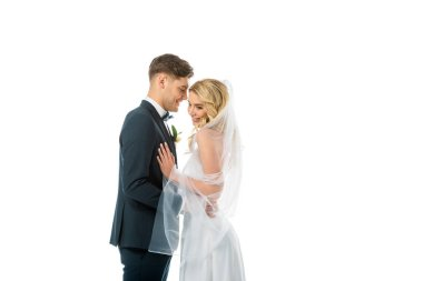 Happy bridegroom talking to beautiful smiling bride isolated on white stock vector