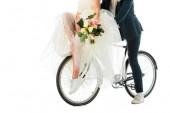 részleges kilátás nyílik, esküvői csokor ül a kerékpár együtt elszigetelt fehér vőlegény menyasszony