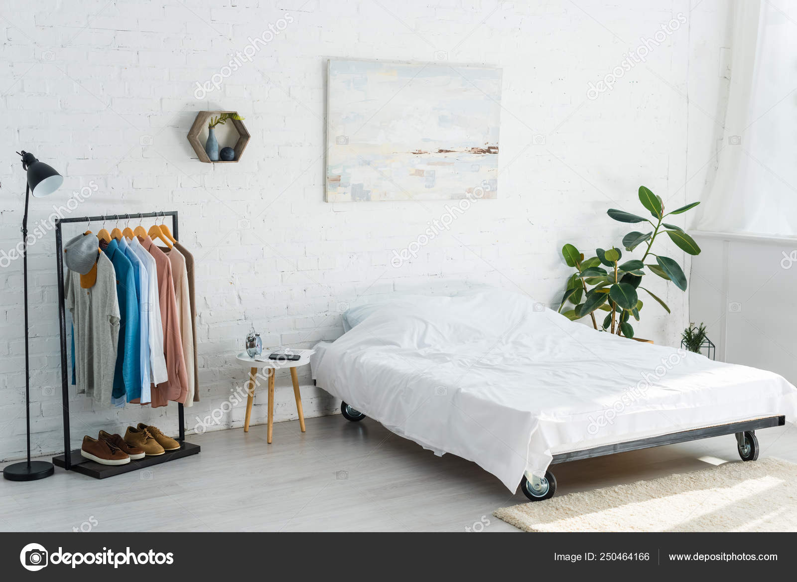 Bed Clothes Rack Shirts Plant Floor Lamp Coffee Table ...
