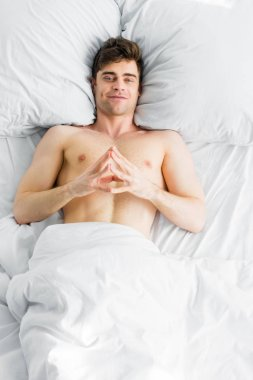 Handsome man with bare torso lying under blanket and smiling on bed stock vector