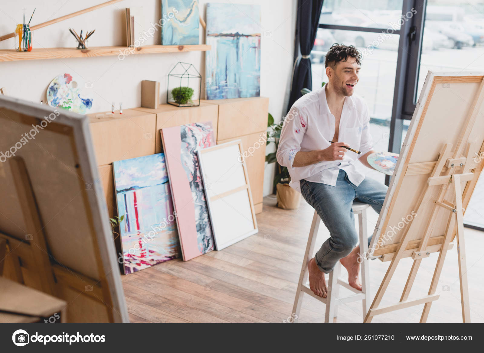 Outstanding Selective Focus Cheerful Artist Sitting High Chair Easel Interior Design Ideas Clesiryabchikinfo