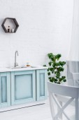 interiér lehké moderní kuchyně bílé a tyrkysové s zelených rostlin