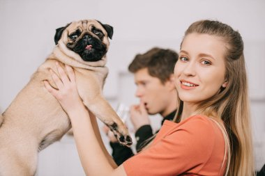 selective focus of attractive blonde woman holding cute pug dog near man