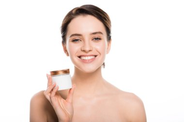 Cheerful naked woman holding container with face cream and smiling isolated on white stock vector