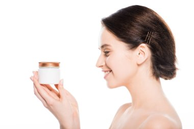 Young woman holding container with face cream and smiling isolated on white stock vector