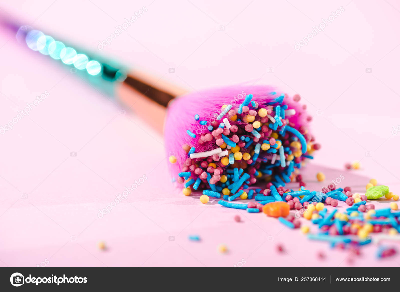 Close View Makeup Brush Covered Colorful Sprinkles Pink
