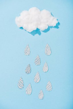 top view of cotton candy cloud with glitter raindrops on blue