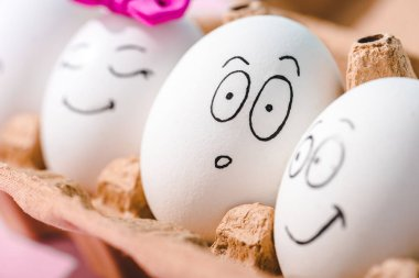 Close up view of eggs with different face expressions in egg carton stock vector