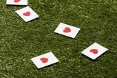 Karty s červeným srdcem na zelené trávě